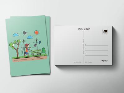 Почтовая открытка «Мальчик в парке»