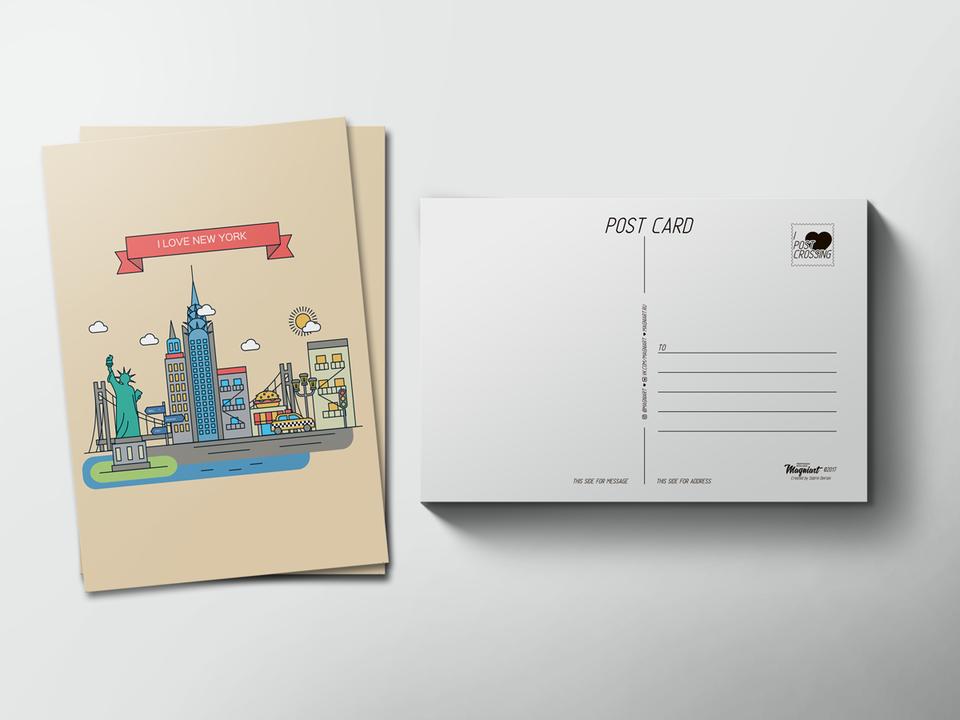 Почтовая открытка «New York» для посткроссинга