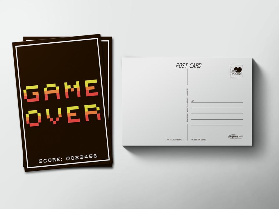 Почтовая открытка «Game Over» для посткроссинга