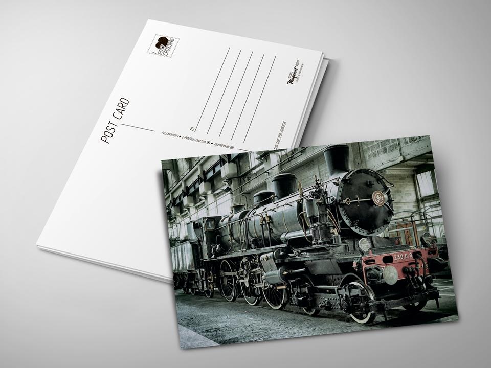 Почтовая открытка «Паровоз» для посткроссинга