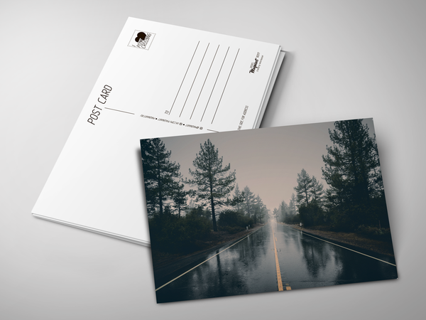 Почтовая открытка «Дождливая дорога»