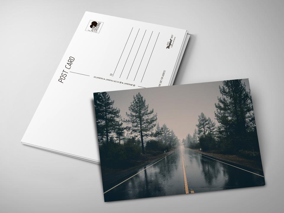 Почтовая открытка «Дождливая дорога» для посткроссинга