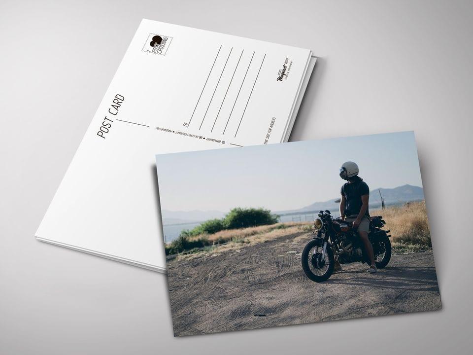 Почтовая открытка «Мотоциклист» для посткроссинга