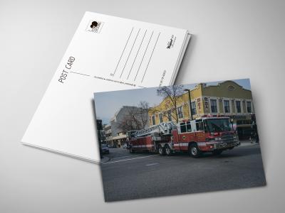 Почтовая открытка «Пожарная машина» для посткроссинга