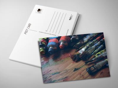 Почтовая открытка «Масло и кисти» для посткроссинга