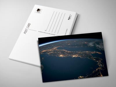 Почтовая открытка «Итальянский сапог» вид из космоса