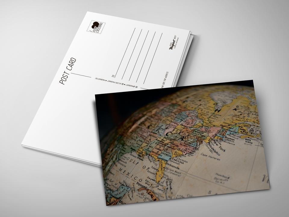 Почтовая открытка «Глобус» для посткроссинга