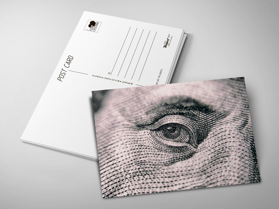 Почтовая открытка «Доллар» для посткроссинга