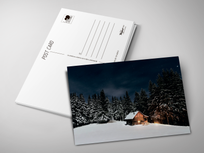 Почтовая открытка «Зимний дом» для посткроссинга