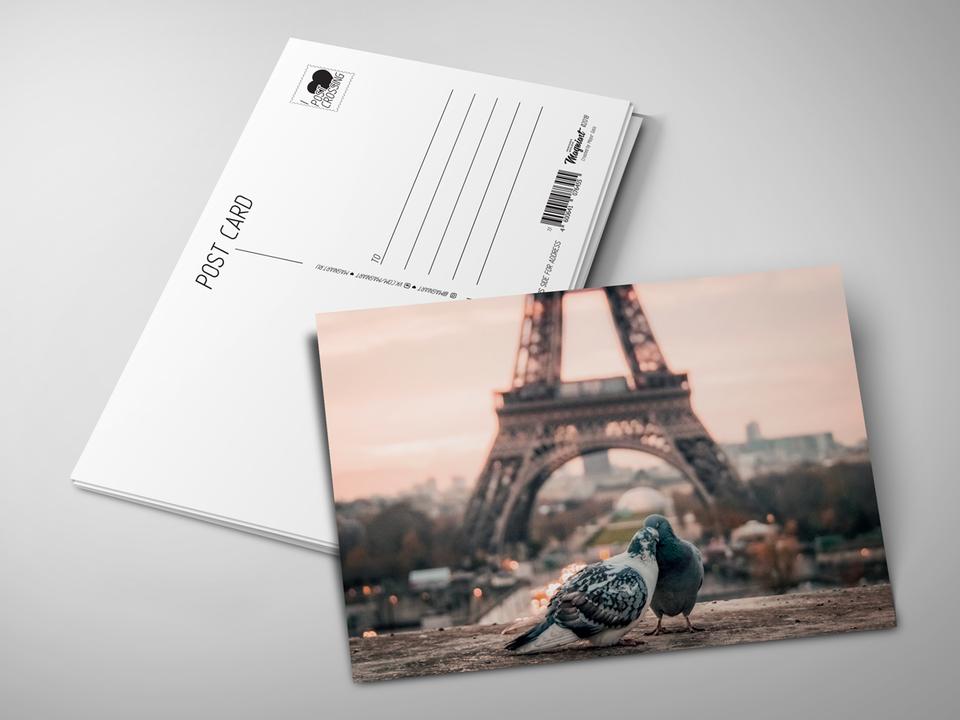 Почтовая открытка из коллекции для посткроссинга «Голуби на фоне Эйфелевой башни»