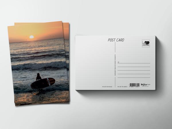 Почтовая открытка «Серфингистка уходит в море на закате»