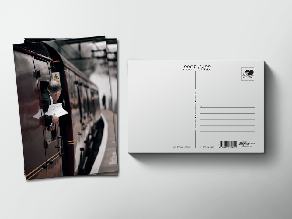 Почтовая открытка из коллекции для посткроссинга «Поезд уходит с перрона»