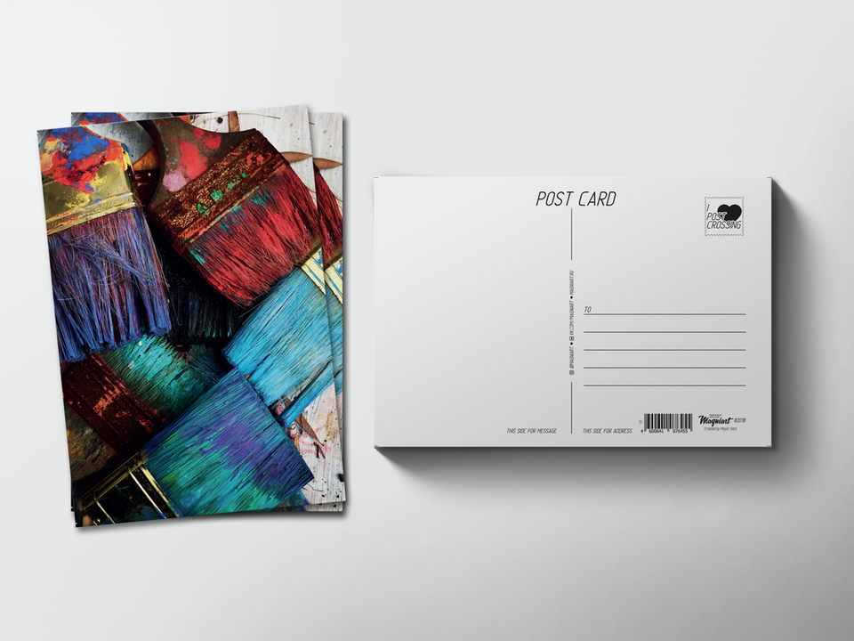 Почтовая открытка из коллекции для посткроссинга «Кисти в краске»
