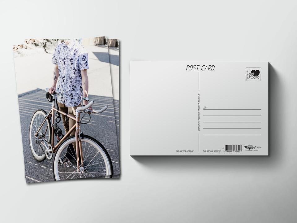 Почтовая открытка из коллекции для посткроссинга «Велосипедист»