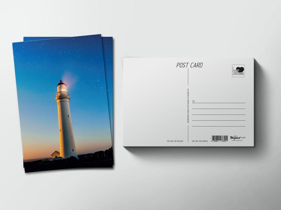Почтовая открытка из коллекции для посткроссинга «Маяк на закате»