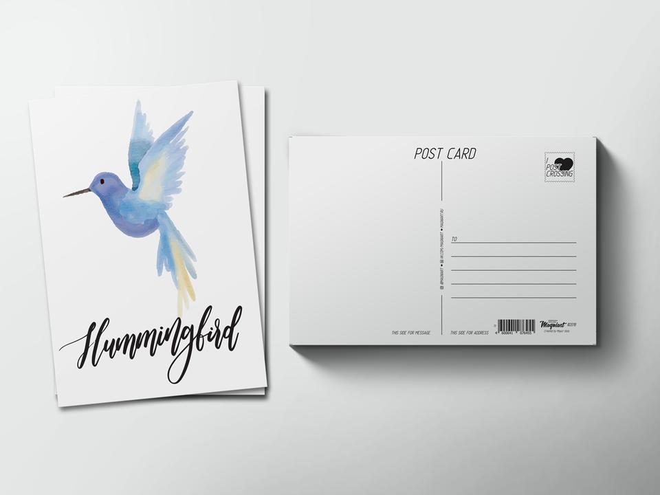 Почтовая открытка из коллекции для посткроссинга «Птица Колибри»