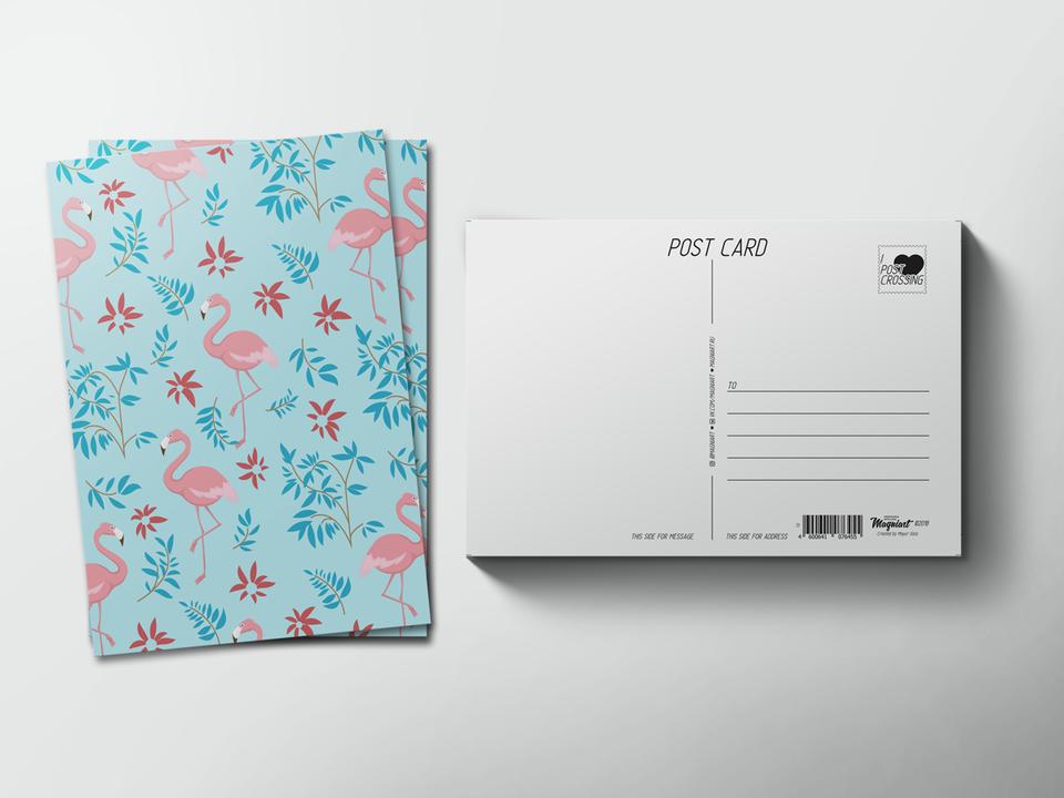 Почтовая открытка из коллекции для посткроссинга «паттерн Фламинго»