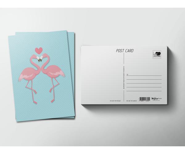 Открытка почтовая  «два Фламинго и сердце» для посткроссинга