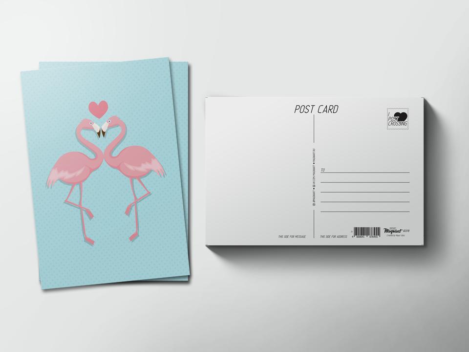 Почтовая открытка из коллекции для посткроссинга «два Фламинго и сердце»