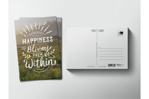 Почтовая открытка «Happiness blooms from within»