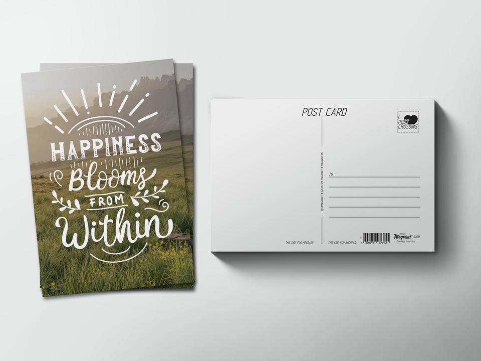 Почтовая открытка из коллекции для посткроссинга «Happiness blooms from within»