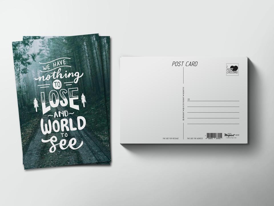 Почтовая открытка из коллекции для посткроссинга «We have nothing to lose and world to see»