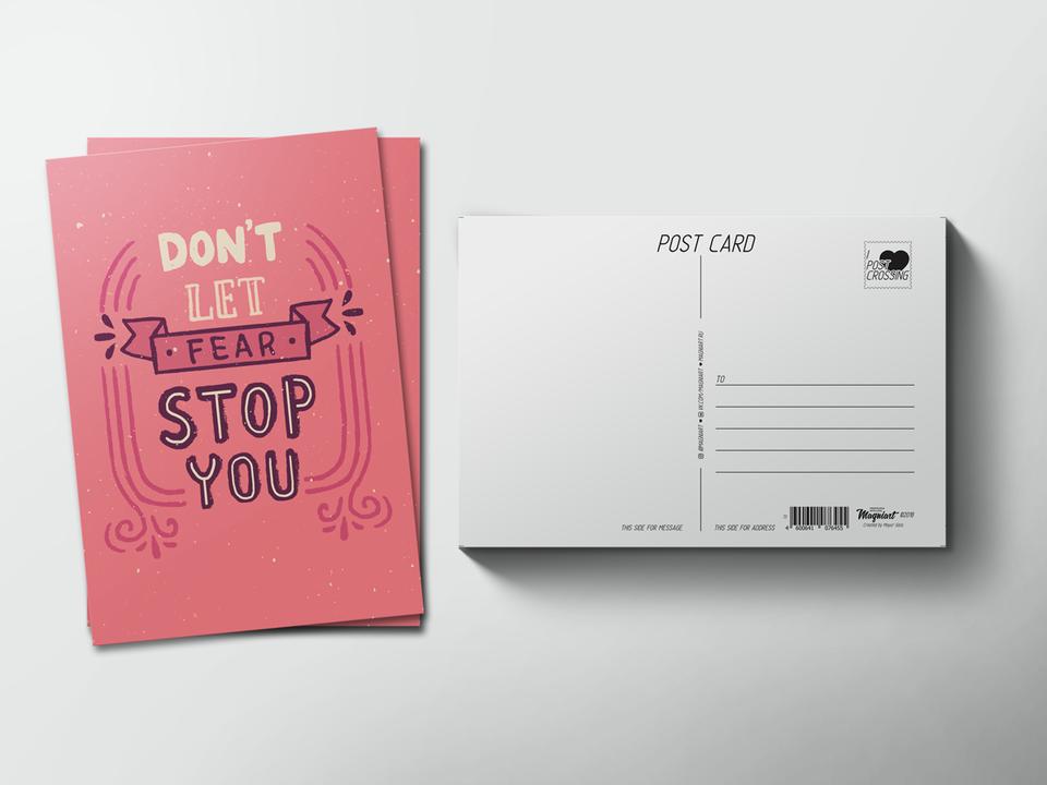 Почтовая открытка из коллекции для посткроссинга «Don't let fear stop you»