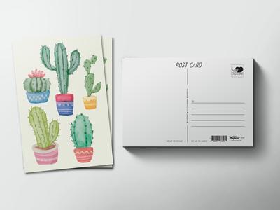 Почтовая открытка «пять кактусов»