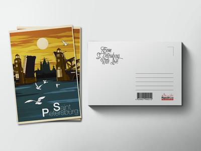Почтовая открытка «Смольный собор мост»