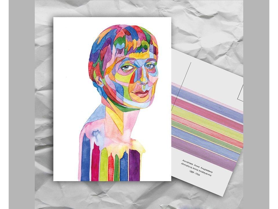 Почтовая открытка из серии «Писатели и поэты: Ахматова А. А.» художницы oksanailiksusha