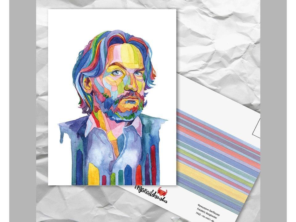 Почтовая открытка из серии «Писатели и поэты: Бегбедер Ф.» художницы oksanailiksusha