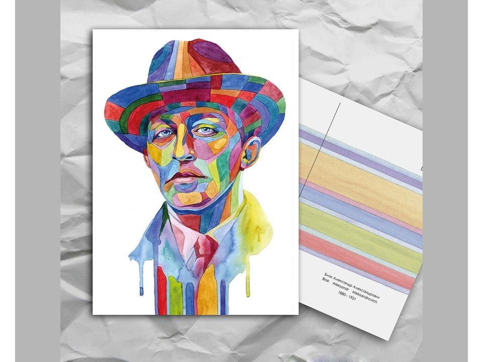 Почтовая открытка из серии «Писатели и поэты: Блок А. А.» художницы oksanailiksusha