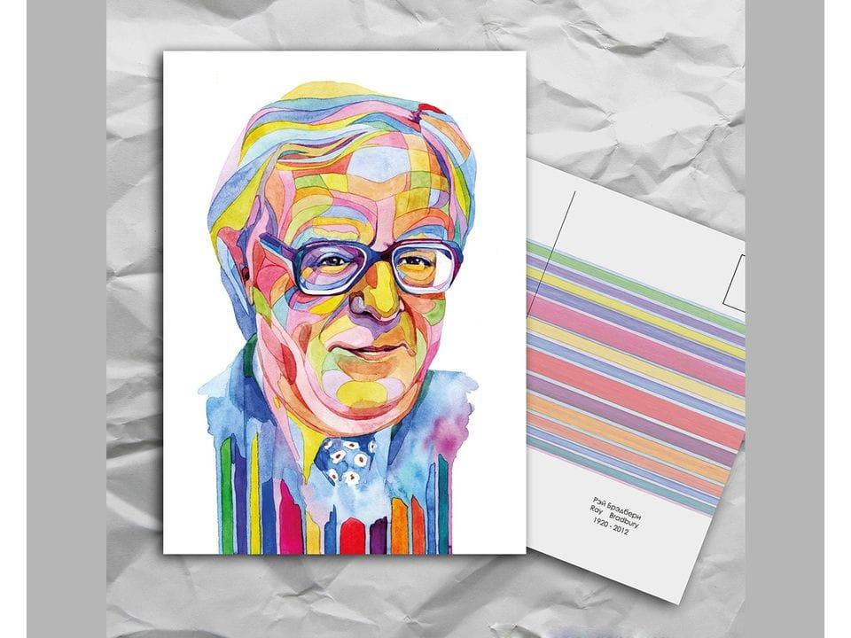 Почтовая открытка из серии «Писатели и поэты: Брэдберри Р.» художницы oksanailiksusha