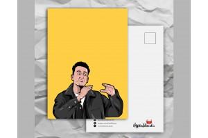 Почтовая открытка с любимыми героями из сериала «Friends: эмоциональный Чендлер»