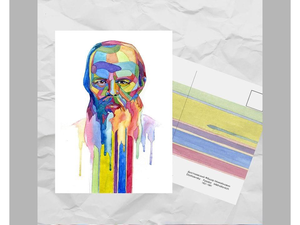 Почтовая открытка из серии «Писатели и поэты: Достоевский Ф. М.» художницы oksanailiksusha