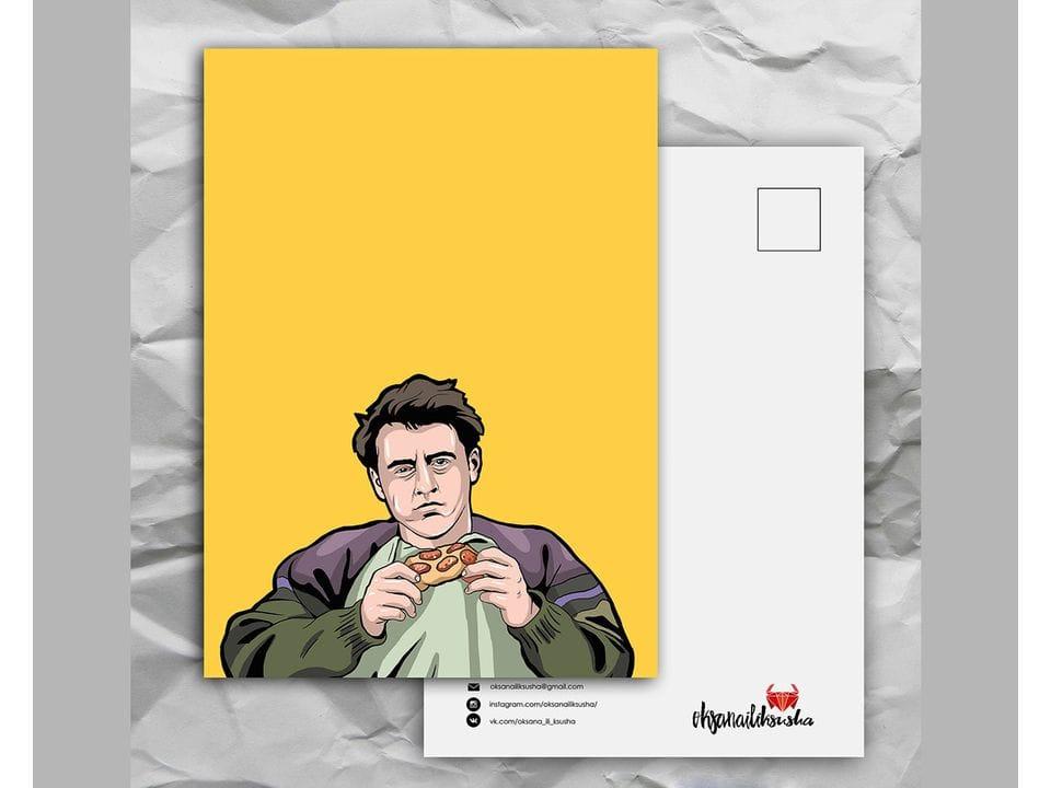 Почтовая открытка с любимыми героями из сериала «Friends: Джо не делится едой» художницы oksanailiksusha