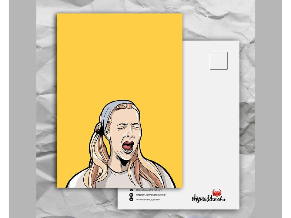 Почтовая открытка с любимыми героями из сериала «Friends: Фиби рожает» художницы oksanailiksusha