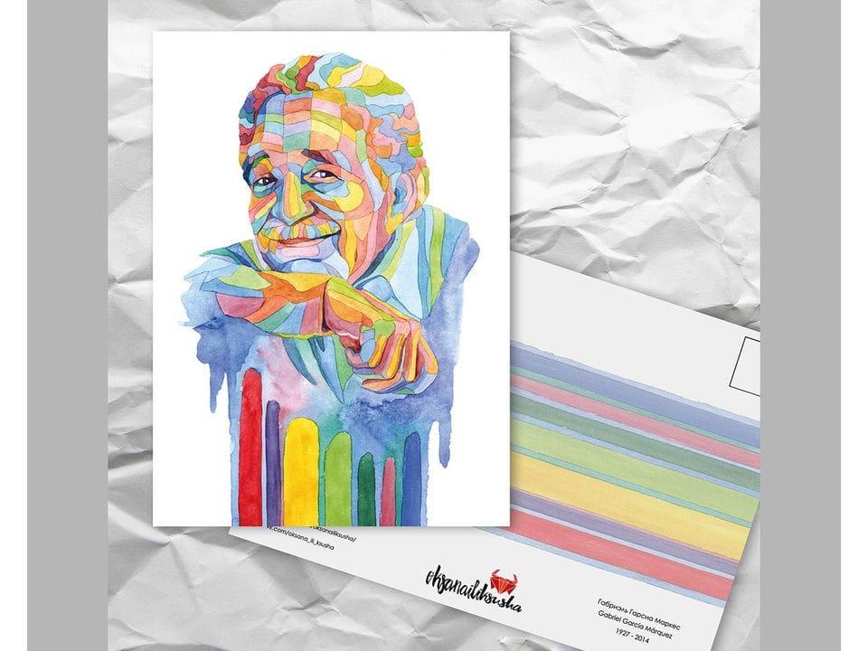 Почтовая открытка из серии «Писатели и поэты: Гарсиа Маркес Г.» художницы oksanailiksusha