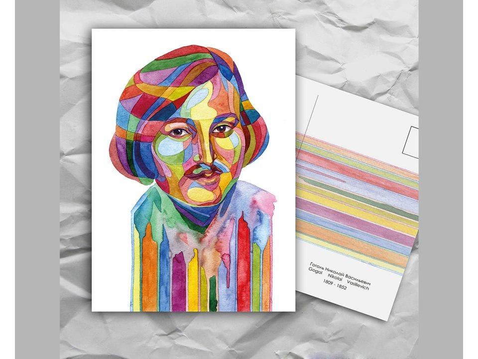 Почтовая открытка из серии «Писатели и поэты: Гоголь Н. В.» художницы oksanailiksusha