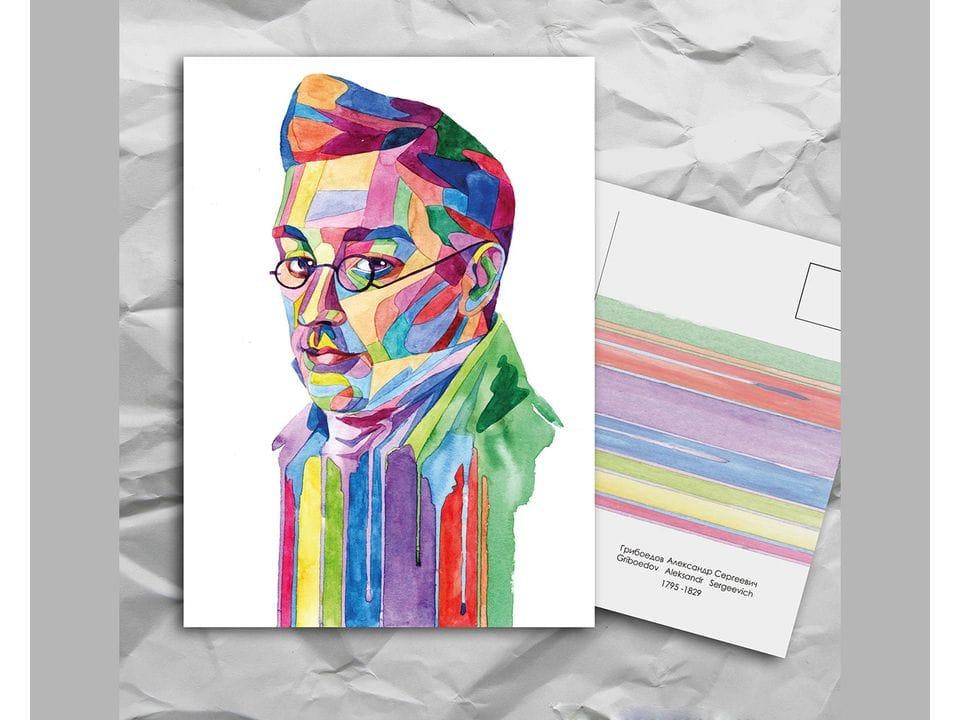 Почтовая открытка из серии «Писатели и поэты: Грибоедов А. С.» художницы oksanailiksusha