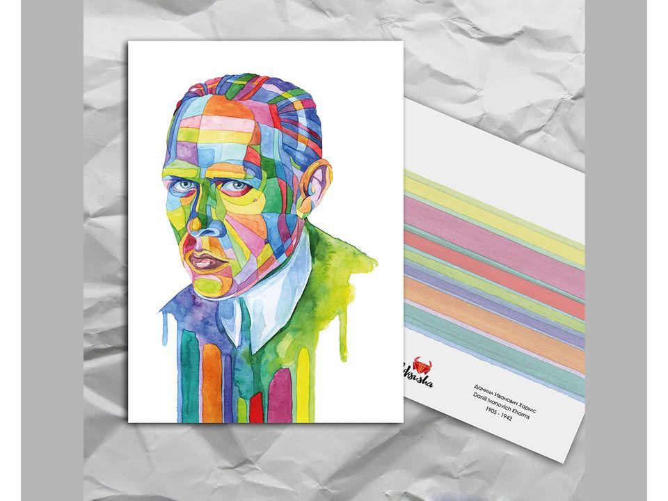 Почтовая открытка из серии «Писатели и поэты: Хармс Д. И.» художницы oksanailiksusha