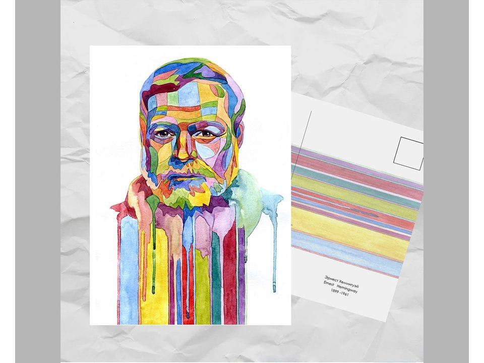 Почтовая открытка из серии «Писатели и поэты: Хемингуэй Э.» художницы oksanailiksusha