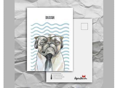 Почтовая открытка с забавными животными «Силы на исходе, хочу на море»