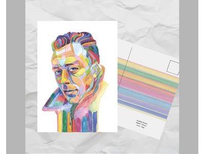 Почтовая открытка из серии «Писатели и поэты: Камю А.»