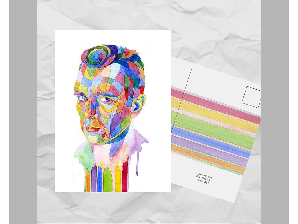 Почтовая открытка из серии «Писатели и поэты: Керуак Д.» художницы oksanailiksusha