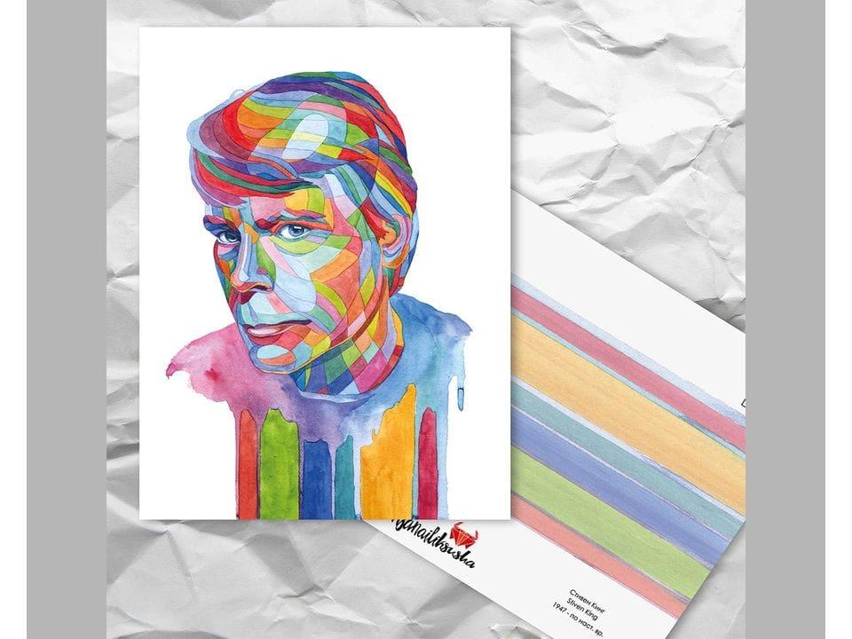 Почтовая открытка из серии «Писатели и поэты: Кинг С.» художницы oksanailiksusha