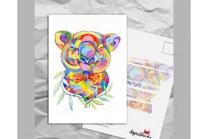 Почтовая открытка с яркими акварельными животными «Коала»