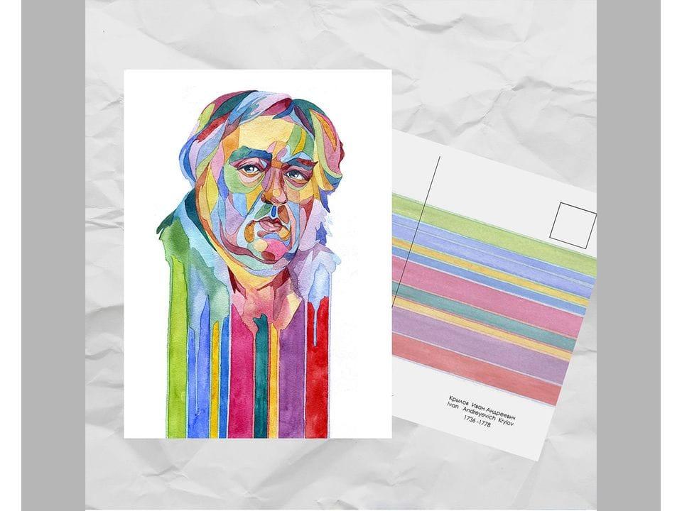 Почтовая открытка из серии «Писатели и поэты: Крылов И. А.» художницы oksanailiksusha