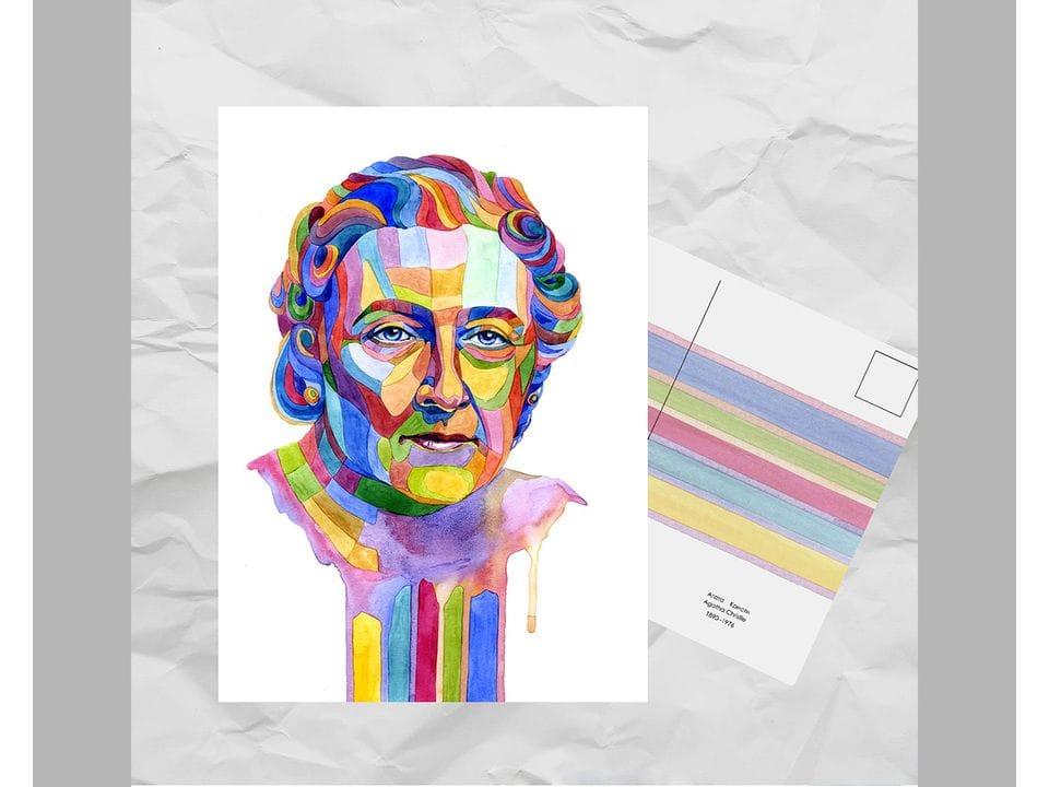 Почтовая открытка из серии «Писатели и поэты: Кристи А.» художницы oksanailiksusha