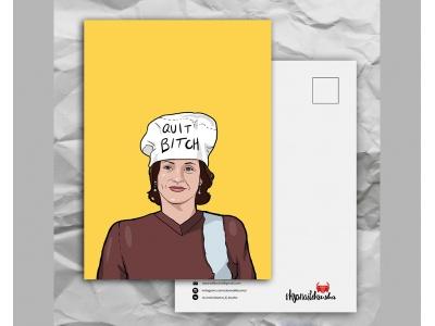 Почтовая открытка с любимыми героями из сериала «Friends: довольная Моника»